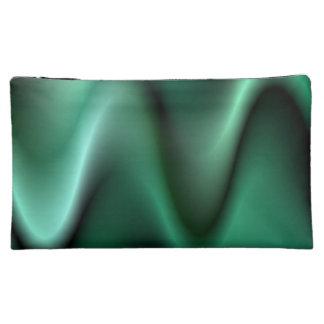 Dark green wave design makeup bag