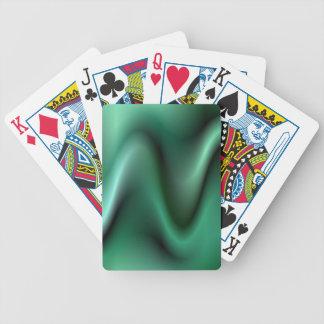 Dark green wave design bicycle playing cards