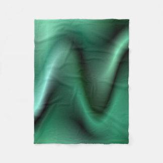 Dark green wave design fleece blanket