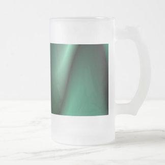 Dark green wave design frosted glass beer mug