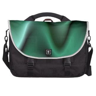 Dark green wave design laptop messenger bag