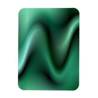 Dark green wave design rectangular photo magnet