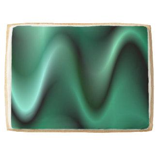 Dark green wave design shortbread cookie