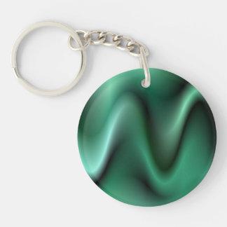 Dark green wave design Single-Sided round acrylic keychain