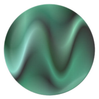 Dark green waves dinner plate