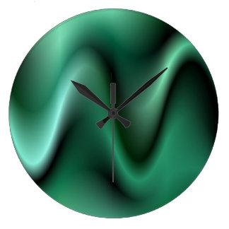 Dark green waves large clock