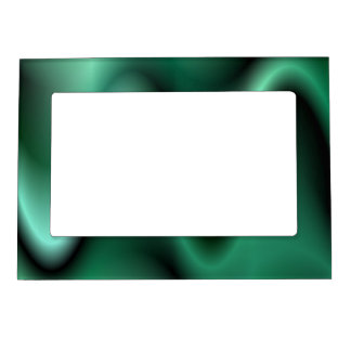 Dark green waves magnetic picture frame