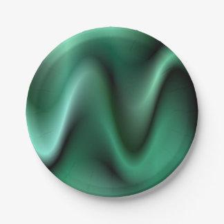 Dark green waves paper plate