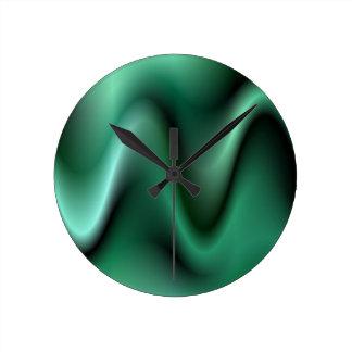 Dark green waves round clock