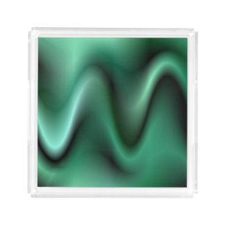 Dark green waves serving tray