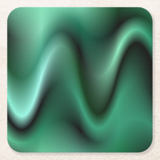 Dark green waves square paper coaster