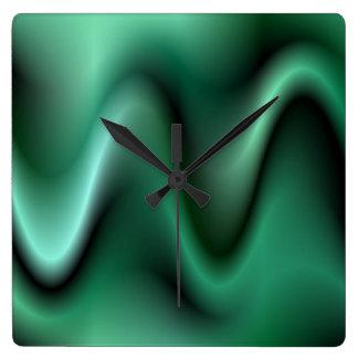 Dark green waves square wall clock