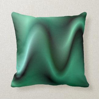 Dark green waves throw pillow