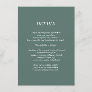 Dark green wedding details/information card