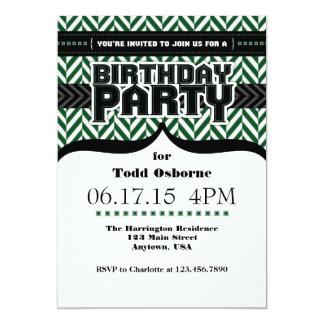 Dark Green White Black Herringbone Birthday Invite