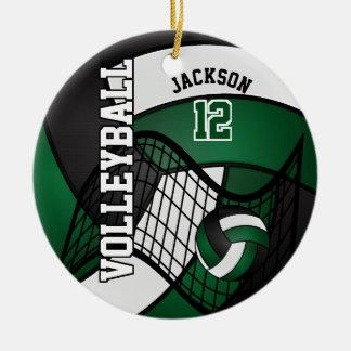 Dark Green, White & Black Personalize Volleyball Ceramic Ornament