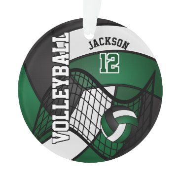 Beach Themed Dark Green, White & Black Volleyball Ornament