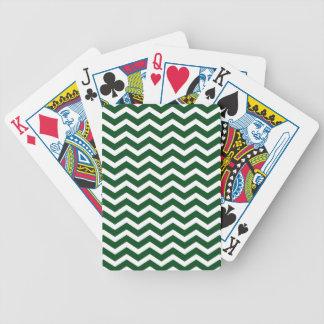 Dark Green White Chevron Pattern Bicycle Playing Cards