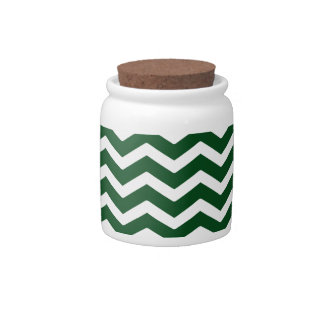 Dark Green White Chevron Pattern Candy Dishes
