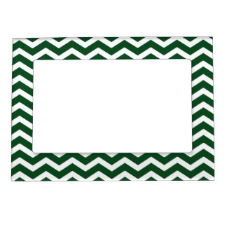 Dark Green White Chevron Pattern Magnetic Picture Frame