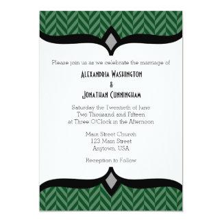 Dark Green White Herringbone Wedding Invitation
