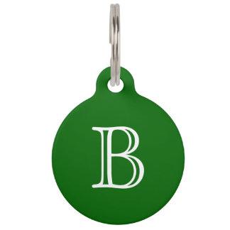 Dark Green White Monogram Initial Name Simple Pet Name Tag