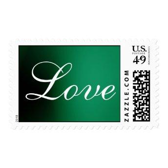 Dark Green White Script Love Wedding Postage