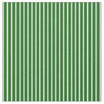 [ Thumbnail: Dark Green & White Stripes/Lines Pattern Fabric ]