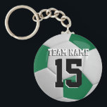 """Dark Green &amp; White Team Soccer Ball Keychain<br><div class=""""desc"""">Soccer Ball Key Chain you can personalize. This keychain is featured in a dark green and white 3D sport style. More colors available. 100% Customizable. Ready to Fill in the box(es) or Click on the CUSTOMIZE button to add, move, delete or change any of the text or graphics. Made with...</div>"""