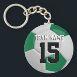 "Dark Green &amp; White Team Soccer Ball Keychain<br><div class=""desc"">Soccer Ball Key Chain you can personalize. This keychain is featured in a dark green and white 3D sport style. More colors available. 100% Customizable. Ready to Fill in the box(es) or Click on the CUSTOMIZE button to add, move, delete or change any of the text or graphics. Made with...</div>"