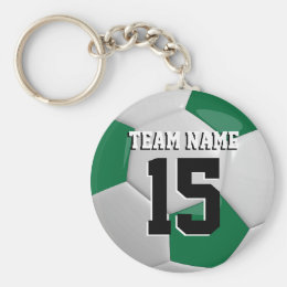 Dark Green & White Team Soccer Ball Keychain