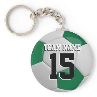 Dark Green & White Team Soccer Ball Keychain