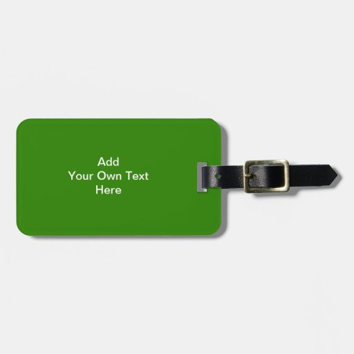 Dark Green with Custom White Text Luggage Tags