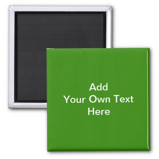 Dark Green with Custom White Text 2 Inch Square Magnet