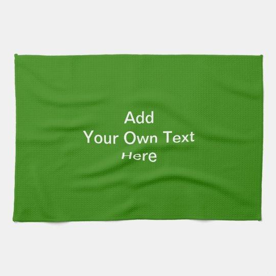 Dark Green with Custom White Text Towel