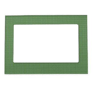 Dark Green With Simple White Dots Magnetic Picture Frame