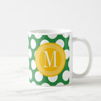 Dark Green & Yellow Big Polka Dots Monogrammed Coffee Mug