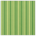 [ Thumbnail: Dark Green & Yellow Lines/Stripes Pattern Fabric ]