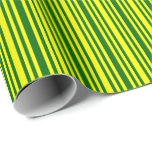 [ Thumbnail: Dark Green & Yellow Lines/Stripes Pattern Wrapping Paper ]