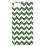 Dark Green Zig Zag Stripe Pattern iPhone 5 Cover