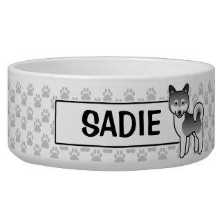 Dark Grey Alaskan Klee Kai Cartoon Dog Bowl