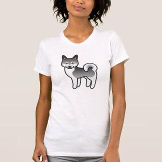 Dark Grey Alaskan Klee Kai Cartoon Dog T-Shirt