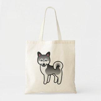 Dark Grey Alaskan Klee Kai Cartoon Dog Tote Bag