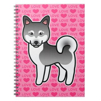 Dark Grey Alaskan Klee Kai Dog On Pink Background Spiral Notebook