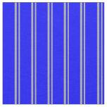 [ Thumbnail: Dark Grey and Blue Stripes Pattern Fabric ]