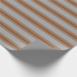 [ Thumbnail: Dark Grey and Brown Colored Striped Pattern Wrapping Paper ]