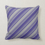 [ Thumbnail: Dark Grey and Dark Slate Blue Colored Pattern Throw Pillow ]
