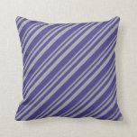 [ Thumbnail: Dark Grey and Dark Slate Blue Lines Pattern Pillow ]
