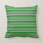 [ Thumbnail: Dark Grey and Forest Green Colored Pattern Pillow ]