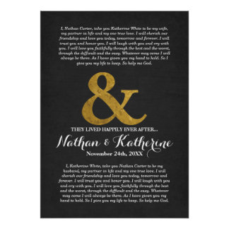 Dark Grey and Gold Wedding Vows Happily Ever After Poster
